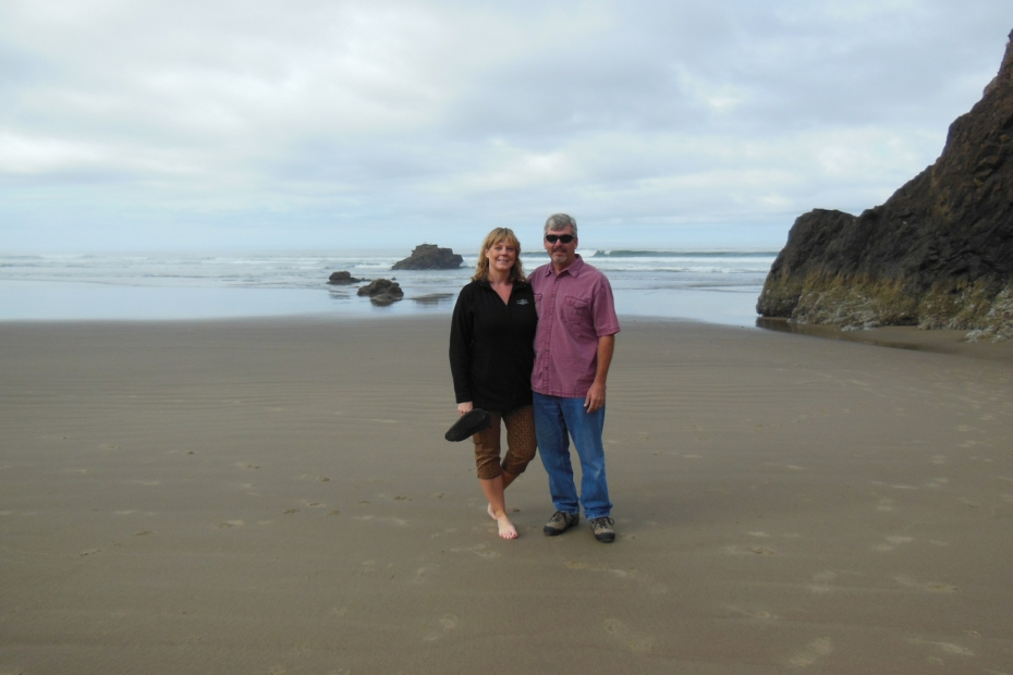 Enjoying a walk on the beach in Oregon on our first empty nest road trip.