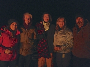 family at bonfire