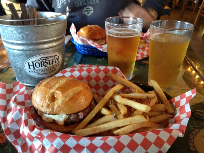 A couple of 50/50 burgers, a Six Shooter and a Bug Eyed Blonde at Horsefly Brewing Co. in Montrose.