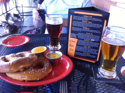Pretzels and beer at the SanTan Brewing Company.