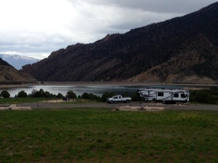 What a view! Our campsite at Rifle Gap State Park.