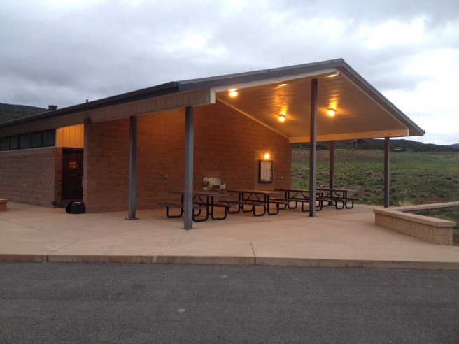Shower and restroom facilities at the Rifle Gap State Park.