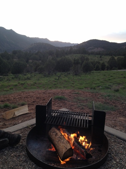 Enjoying the sunset from our campsite.