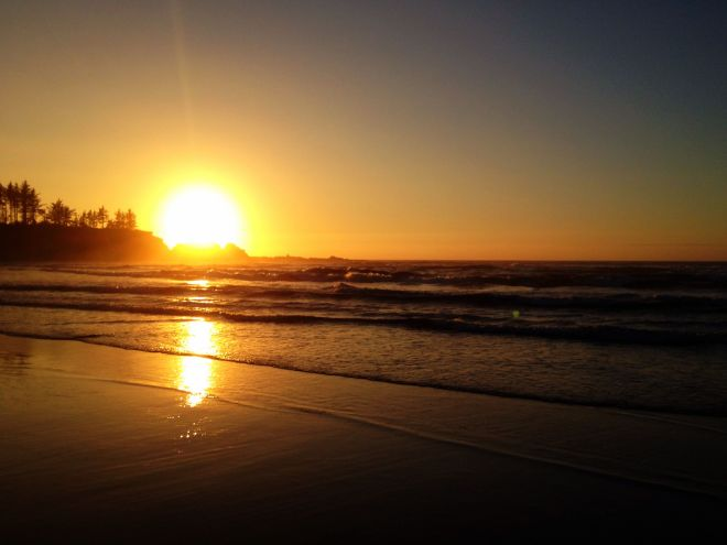Sunset on the beach at Coos Bay.